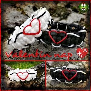 Valentin , Ékszer, Karkötő, Fonott & Szövött karkötő, Fonás (csuhé, gyékény, stb.), Paracord karkötő szív mintával szerelmeseknek, pároknak. \nTökéletes választás lehet Valentin napra é..., Meska