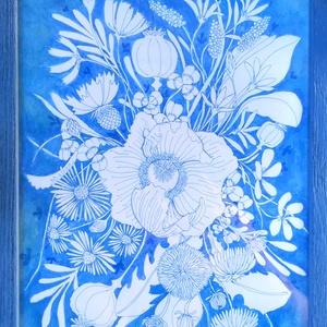 Vadvirágos kép, Táblakép, Dekoráció, Otthon & Lakás, Festészet, Kék tussal készített virágos kép, üvegezett, kék színű, fa keretben.\n\nA feltüntetett ár a képet és a..., Meska