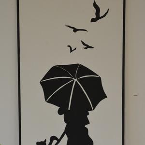 Kutyát sétáltató nő esernyővel fali kép, Kép & Falikép, Dekoráció, Otthon & Lakás, Famegmunkálás, Festészet, A termék mérete 65*48 cm, súlya 2 kg.\n\n8mm vastag mdf lapot mértre vágunk, alapozás után kiváló minő..., Meska