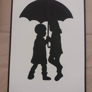 Gyerekek esernyő alatt falikép, Otthon, lakberendezés, Dekoráció, Falikép, Kép, Famegmunkálás, Festészet, A termék mérete 65*48 cm, súlya 2 kg.  8mm vastag mdf lapot mértre vágunk, alapozás után kiváló min..., Meska