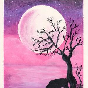 Purple Moon, Művészet, Festmény, Pasztell, Festészet, Pasztell, grafit és fehér akril festék vegyes technikával készült.\n\nMérete: 21×30 cm\n\nAJÁNDÉK KÉPKER..., Meska