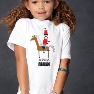 Hungarian hero - huszáros gyerek póló - uniszex, Ruha & Divat, Babaruha & Gyerekruha, Póló, Fotó, grafika, rajz, illusztráció, Fehér pamut pólóra szitanyomással kerültek rá a huszáros minta \n\n2-től 12 éves korig van belőle mére..., Meska