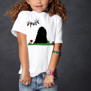 Puli - kutyás gyerek póló - uniszex, Ruha & Divat, Babaruha & Gyerekruha, Póló, Fotó, grafika, rajz, illusztráció, Fehér pamut pólóra szitanyomással került rá a pulis minta \n\n2-től 12 éves korig van belőle méret. Un..., Meska
