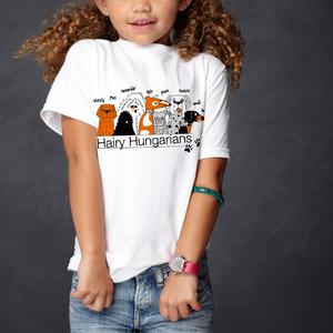 Kutyás póló gyerekeknek - hairy hungarians - uniszex, Ruha & Divat, Babaruha & Gyerekruha, Póló, Fotó, grafika, rajz, illusztráció, Fehér pamut pólóra szitanyomással kerültek rá a szőrös magyarok. \n\n2-től 12 éves korig van belőle mé..., Meska