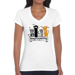 Magyar cicák - túristapóló, magyarországi emlék - fehér női top, Ruha & Divat, Női ruha, Póló, felső, Fotó, grafika, rajz, illusztráció, 100% pamut pólóra készült szitanyomott minta. \n\nS, M, L, XL méret van belőle.\n\n30 fokon mosható, kif..., Meska
