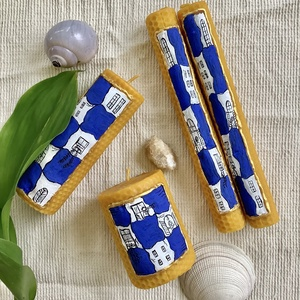 HUNDERTWASSER festett méhviaszgyertya csomag, Otthon & Lakás, Dekoráció, Gyertya & Gyertyatartó, Gyertya-, mécseskészítés, [100% méhviaszgyertya kézzel festve (akrilfesték)]\n\n~paraméterei: 4 db gyertyát tartalmaz:\n\n1 darab ..., Meska