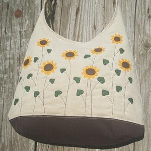 Napraforgók beige színű  kord pakolós táska (patonaifabian) - Meska.hu