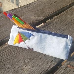 Esernyő világoskék színű kord tolltartó (patonaifabian) - Meska.hu
