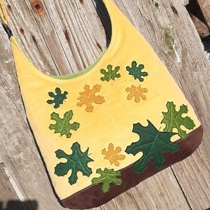 Levelek mustársárga színű  kord pakolós táska, Táska, Divat & Szépség, Táska, Válltáska, oldaltáska, Szeretem a közepes méretű táskákat, mert korlátoznak, hogy mit is vigyek magammal. De sokan a pakoló..., Meska