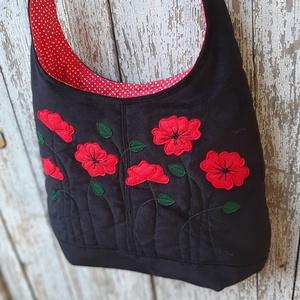 Pipacsok fekete színű  kord pakolós táska, Táska & Tok, Kézitáska & válltáska, Nagy pakolós táska, Szeretem a közepes méretű táskákat, mert korlátoznak, hogy mit is vigyek magammal. De sokan a pakoló..., Meska