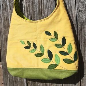 Levelek napsárga színű kord pakolós táska, Táska & Tok, Kézitáska & válltáska, Nagy pakolós táska, Varrás, Szeretem a közepes méretű táskákat, mert korlátoznak, hogy mit is vigyek magammal. De sokan a pakoló..., Meska