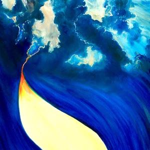 Gerendás Paula festőművész, eredeti, egyedi olajfestmény - Tűz-víz-föld-levegő II., Otthon & lakás, Képzőművészet, Festmény, Olajfestmény, Festészet, A belső tüzet szimbolizálja ez a kép, amely hajt bennünket életünk álmainak elérésében\nKülönleges mé..., Meska