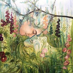 Eredeti, egyedi olajfestmény, Gerendás Paula festőművész alkotása, címe: Lélek-jelenlét, Otthon & lakás, Képzőművészet, Festmény, Olajfestmény, Napi festmény, kép, Festészet, Időnként lélek-jelenlétre van szükségünk. A test és a lélek kapcsolatát ábrázolja alkotásom. 70x70 c..., Meska