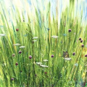 Gerendás Paula festőművész egyedi alkotása, Az égig érő fű, Otthon & lakás, Képzőművészet, Festmény, Olajfestmény, Festészet, Szeretsz kimenni a rétre, leheveredni és hallgatni a természet hangjait? Ezzel a festménnyel a nappa..., Meska