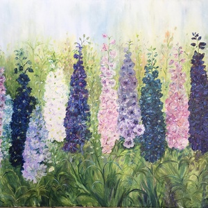 Gerendás Paula festőművész, eredeti, egyedi olajfestménye, címe: Sarkantyúfű, Otthon & lakás, Képzőművészet, Festmény, Olajfestmény, Festészet, Egy színpompás kiskertet ábrázoltam, ahol a sarkantyúfű virágok nőnek. Friss, élettel teli alkotás, ..., Meska