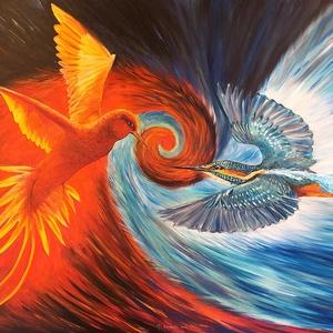 Gerendás Paula festőművész, eredeti, egyedi olajfestménye, címe: Tűzmadár és jégmadár, Otthon & lakás, Képzőművészet, Festmény, Olajfestmény, Festészet, A festmény a bennünk dúló ellentéteket szimbolizálja. Amikor nem tudunk dönteni, elindul bennünk tűz..., Meska