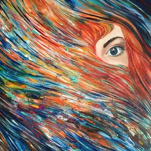 Gerendás Paula festőművész, eredeti, egyedi alkotása, címe: Kitekintés a mátrixból, Otthon & lakás, Képzőművészet, Festmény, Olajfestmény, Festészet, A kép azt a pillanatot ábrázolja, mikor meglátjuk a Valóságot. Mérete: 50x40 cm, Meska