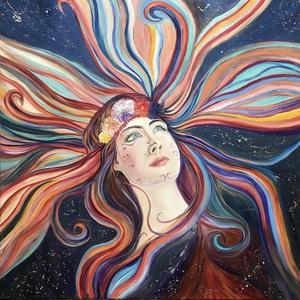 Gerendás Paula festőművész, eredeti, egyedi olajfestmény, címe: Bereniké haja, Otthon & lakás, Képzőművészet, Festmény, Olajfestmény, Festészet, Egy mitológiai történetet mesél el az egyiptomi időkből ez az alkotásom. Mérete 70x70 cm., Meska