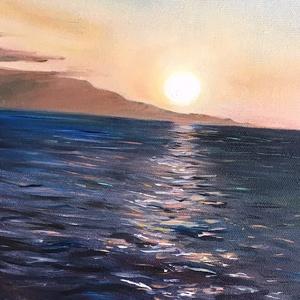 Eredeti, egyedi olajfestmény, címe: Csillámlás II., Olajfestmény, Festmény, Művészet, Festészet, A megunhatatlan tengerpart, lemenő nap különleges fényében.\nMérete: 40x20 cm., Meska