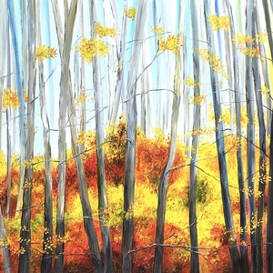 Eredeti, egyedi olajfestmény, címe: Izzó levelek, Otthon & Lakás, Dekoráció, Kép & Falikép, Festészet, Az ősz szépségeit szerettem volna ábrázolni. Kerültem a zöld szín alkalmazását helyette a fatörzsek ..., Meska