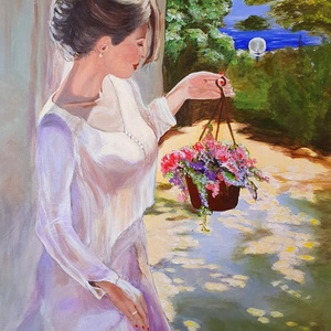Selyemblúzos lány virággal, Művészet, Festmény, Akril, Festészet, Tavaszi tóparti hangulat, csillogó színek, csini lány, virágok. Szerettel festettem, remélem tetszik..., Meska