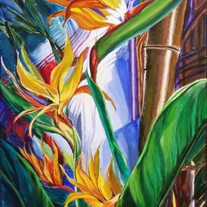 Kakasvirág , Művészet, Festmény, Akril, Festészet, 80 x 40 cm-es feszített vászonra készítettem akrilfestékkel ezt a dzsugelt idéző képemet. Remélem si..., Meska
