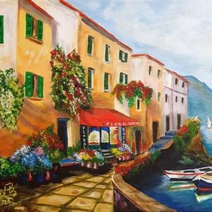 Olasz sétány a tengerparton, Otthon & Lakás, Dekoráció, Falra akasztható dekor, Festészet, Akrilfestményem 40 x 50 cm-es feszített vászonra készült. Igazi nyári hangulatot idéz. Üdítő látvány..., Meska