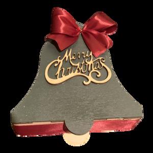 Harang alakú karácsonyi ajándékdoboz, felirattal, Karácsony, Karácsonyi ajándékozás, Karácsonyi ajándékcsomagolás, Famegmunkálás, Festett tárgyak, Meska