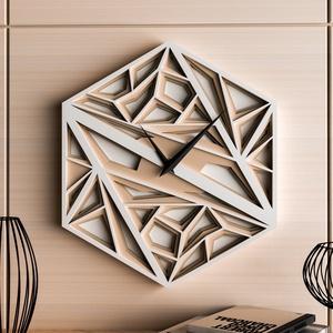 Absztrakt 3D falióra, Otthon & Lakás, Dekoráció, Falióra & óra, Famegmunkálás, Festett tárgyak, Ez a falióra vonzza a tekintetet! 4 réteg falemezből készült, egyedi, modern vonalvezetés, csendes, ..., Meska