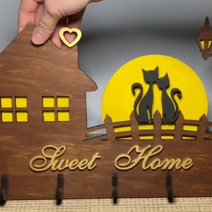Romantikus cicás fali kulcstartó, Otthon & Lakás, Bútor, Kulcstartó szekrény, Famegmunkálás, Festett tárgyak, Meska