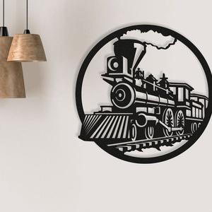 Retró vonat fából készült fali kép, Otthon & Lakás, Dekoráció, Kép & Falikép, Famegmunkálás, Festett tárgyak, Meska