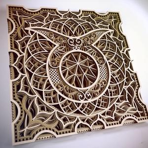 Mandala csillagjegy, Bika, Otthon & Lakás, Dekoráció, Falra akasztható dekor, Famegmunkálás, Festett tárgyak, Meska