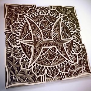 Mandala csillagjegy, Szűz, Otthon & Lakás, Dekoráció, Falra akasztható dekor, Famegmunkálás, Festett tárgyak, Meska