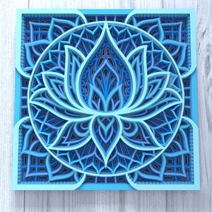 Mandala lótusz virág, kék, Otthon & Lakás, Dekoráció, Falra akasztható dekor, Famegmunkálás, Festett tárgyak, Gyönyörű, egyedileg készített lótusz virág, kék színben. 7 rétegnyi 3 mm vastag fából készül. Mérete..., Meska