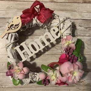 Rózsaszín kopogtató, Otthon & Lakás, Dekoráció, Ajtódísz & Kopogtató, Virágkötés, Meska
