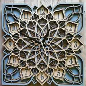 Mandala falióra - 5 rétegű, Otthon & Lakás, Dekoráció, Falióra & óra, Famegmunkálás, Festett tárgyak, Egyedi, gyönyörű Mandala falióra, mely a modern és a klasszikus terekbe is tökéletesen illik! Átmérő..., Meska