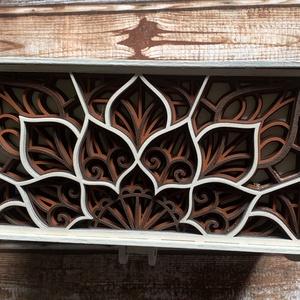 Mandala doboz, Ékszer, Ékszertartó, Ékszerdoboz, Famegmunkálás, Ez a gyönyörű mandalás doboz alkalmas ékszerek tárolására, vagy akár egy kedves ajándék különleges c..., Meska