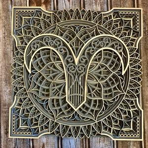 Mandala csillagjegy, Kos, Otthon & Lakás, Dekoráció, Falra akasztható dekor, Famegmunkálás, Festett tárgyak, Meska