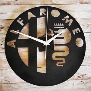Alfa Romeo falióra, Otthon & Lakás, Dekoráció, Falióra & óra, Famegmunkálás, Festett tárgyak, Egy igazi alfásnak egy igazán jó ajándék! Ezzel a faliórával biztos, hogy megdobogtatod a szívét :)\n..., Meska
