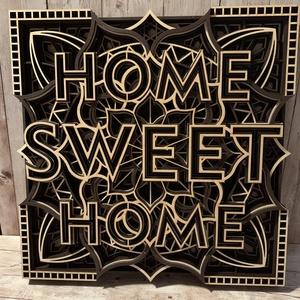 Mandala fali dísz - Home Sweet Home , Otthon & Lakás, Dekoráció, Falra akasztható dekor, Famegmunkálás, Festett tárgyak, Gyönyörű fali dísz, akár keretezhető is! 9 rétegnyi 3 mm vastag fából készül, egyedi színekben is ig..., Meska