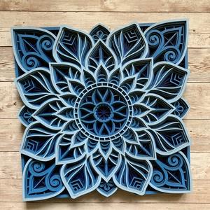 Kék mandala kép, Otthon & Lakás, Dekoráció, Dísztárgy, Famegmunkálás, Festett tárgyak, Ez a csodálatos mandala kép feltűnő dísze lehet minden otthonnak. \n8 rétegnyi 3mm-es rétegelt fából ..., Meska