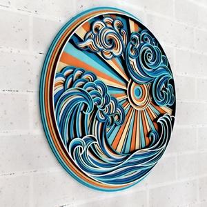Háborgó tenger - mandala fali dísz - otthon & lakás - dekoráció - falra akasztható dekor - Meska.hu