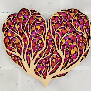 Szív alakú szerelem fa, fali dísz, fali kép, Otthon & Lakás, Dekoráció, Falra akasztható dekor, Famegmunkálás, Festett tárgyak, Gyönyörű, egyedi, szív alakú, szerelemfát ábrázoló fali dísz. 4 rétegnyi 3 mm vastag rétegelt fából ..., Meska