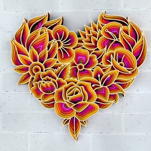 Mandala stílusú, virágokat ábrázoló szív - fali dísz, fali kép, Otthon & Lakás, Dekoráció, Falra akasztható dekor, Famegmunkálás, Festett tárgyak, Igazán csodálatos mandala stílusú fali dísz, mely szív alakba tömöríti a virágokat! Ékes dísze lehet..., Meska