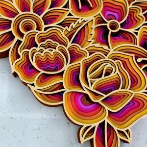 Mandala stílusú, virágokat ábrázoló szív - fali dísz, fali kép - otthon & lakás - dekoráció - falra akasztható dekor - Meska.hu