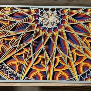 Alkonyat óriás mandala kép, Otthon & Lakás, Dekoráció, Mandala, Festett tárgyak, Famegmunkálás, Meska