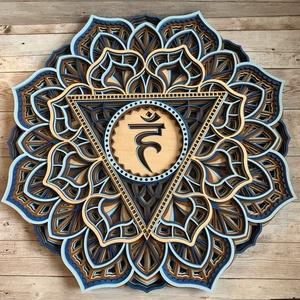 Mandala csakra - Visuddha, torokcsakra, Otthon & Lakás, Dekoráció, Falra akasztható dekor, Famegmunkálás, Festett tárgyak, Meska
