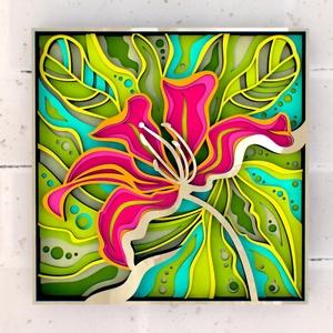 Egzotikus virág fali kép, több rétegű, Otthon & Lakás, Dekoráció, Kép & Falikép, Famegmunkálás, Festett tárgyak, Meska