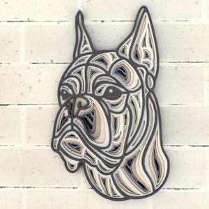Boxer fali kép - egyedi, több rétegű, Otthon & Lakás, Dekoráció, Kép & Falikép, Famegmunkálás, Festett tárgyak, Meska