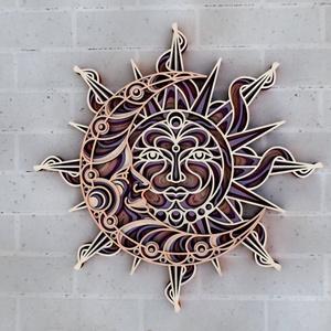 Nap és hold - több rétegű fali kép, Otthon & Lakás, Dekoráció, Kép & Falikép, Famegmunkálás, Festett tárgyak, Meska